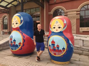 Russian dolls, outside the Russian hotel, in a very Russian place in China.